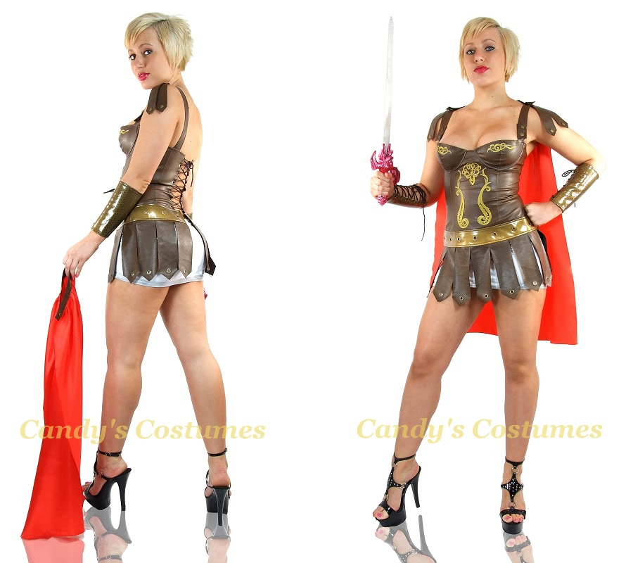 Sexy gladiator costume roman soldier red cape vinyl corset dress shop categories solutioingenieria Choice Image